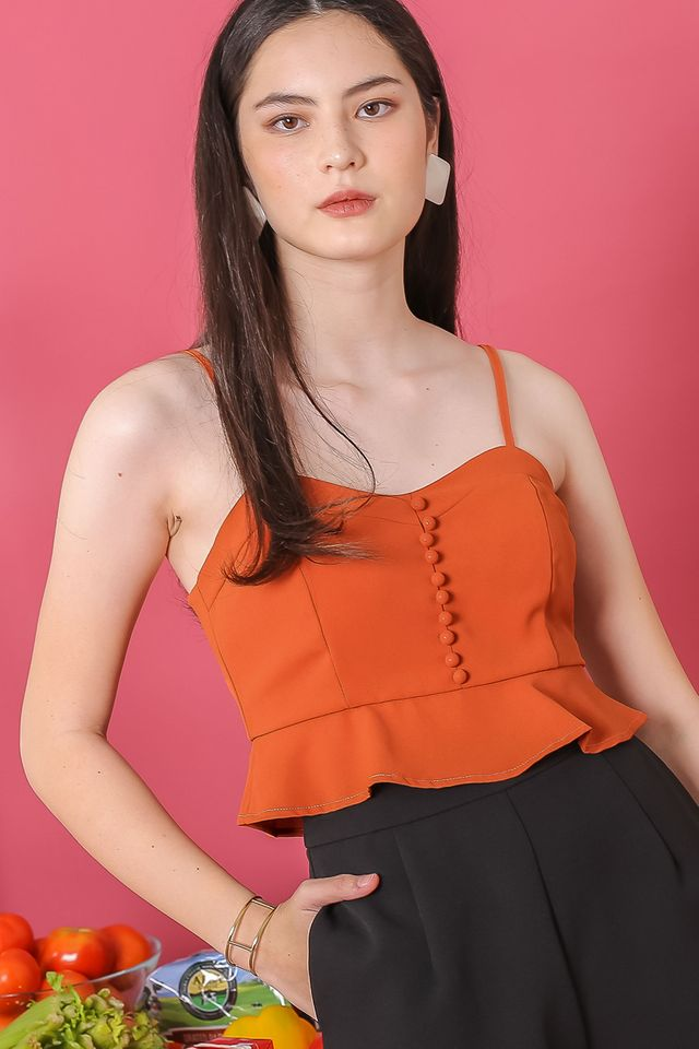 ELLIE PEPLUM TOP (RUST)