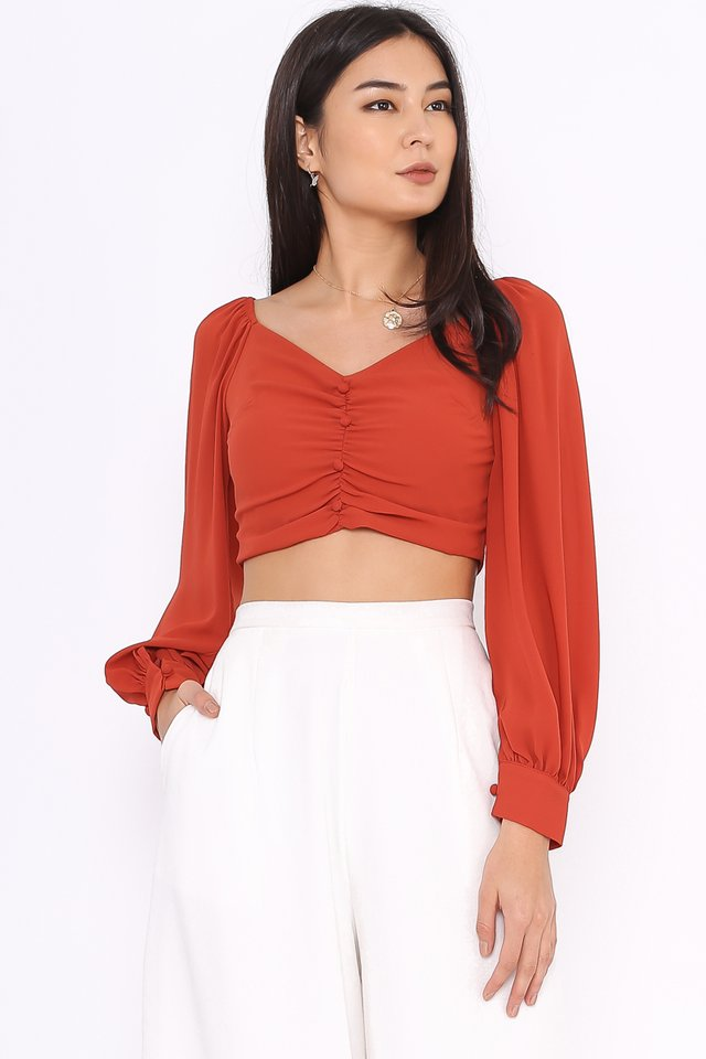 LARISSA BUBBLE SLEEVE TOP (AMBER)