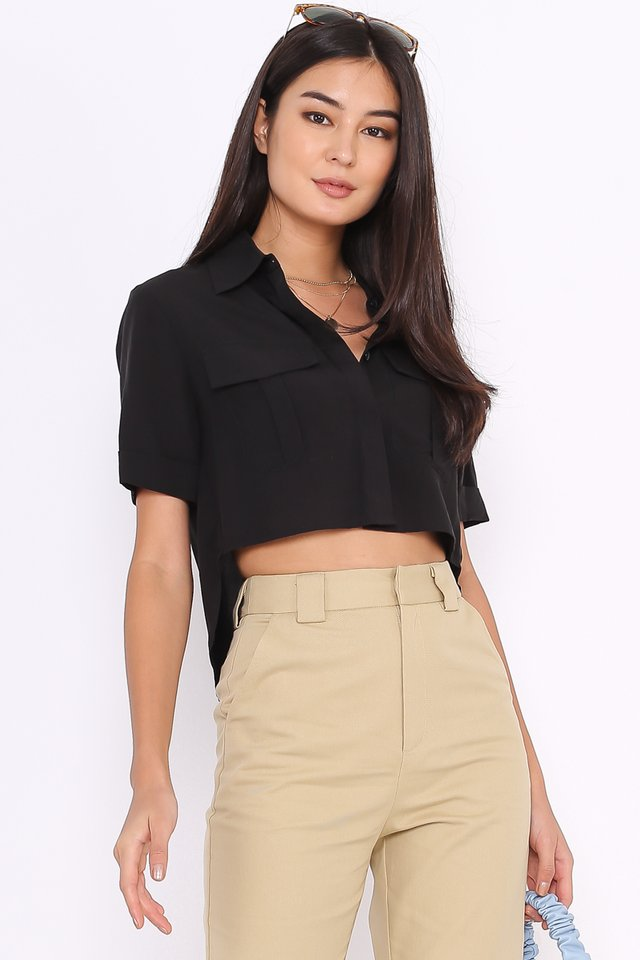 PEYTON DOUBLE POCKET SHIRT (BLACK)