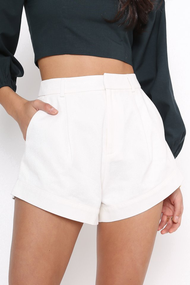 *BACKORDER 3* CHARLIE CURVED HEM SHORTS (WHITE)