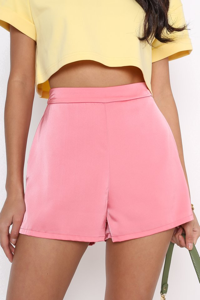 SONIA SATIN SHORTS (WATERMELON PINK)
