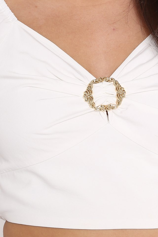 RISSA BUCKLE TOP (WHITE)