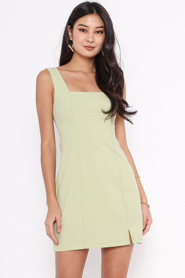 SCARLET SQUARE NECK DRESS (AVOCADO GREEN)