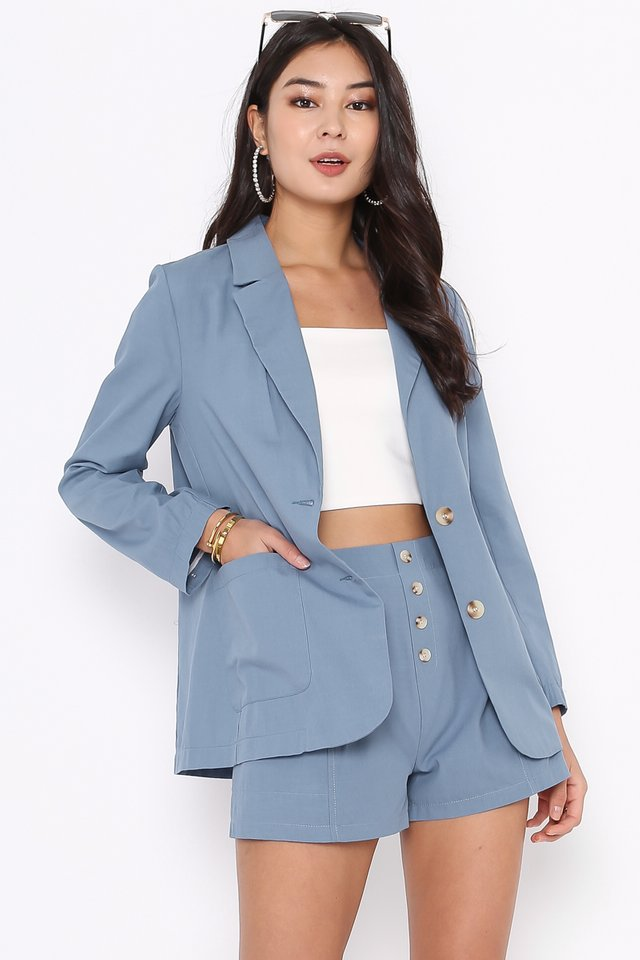 LEXI LINEN BLAZER SET (AIRFORCE BLUE)