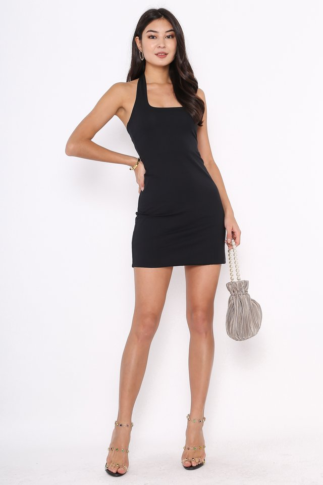 *BACKORDER* HILTON HALTER NECK DRESS (BLACK)