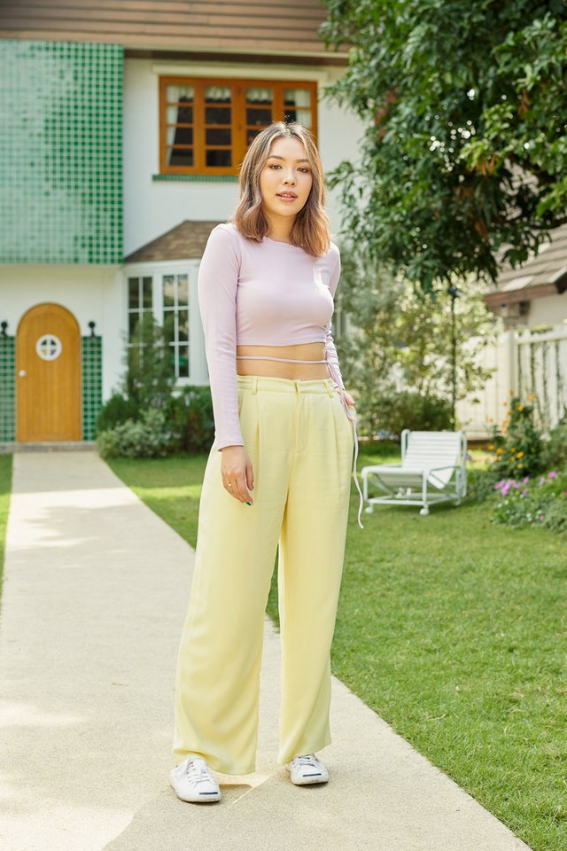 *BACKORDER* SHANTELLE STRAIGHT LEG PANTS (PASTEL YELLOW)