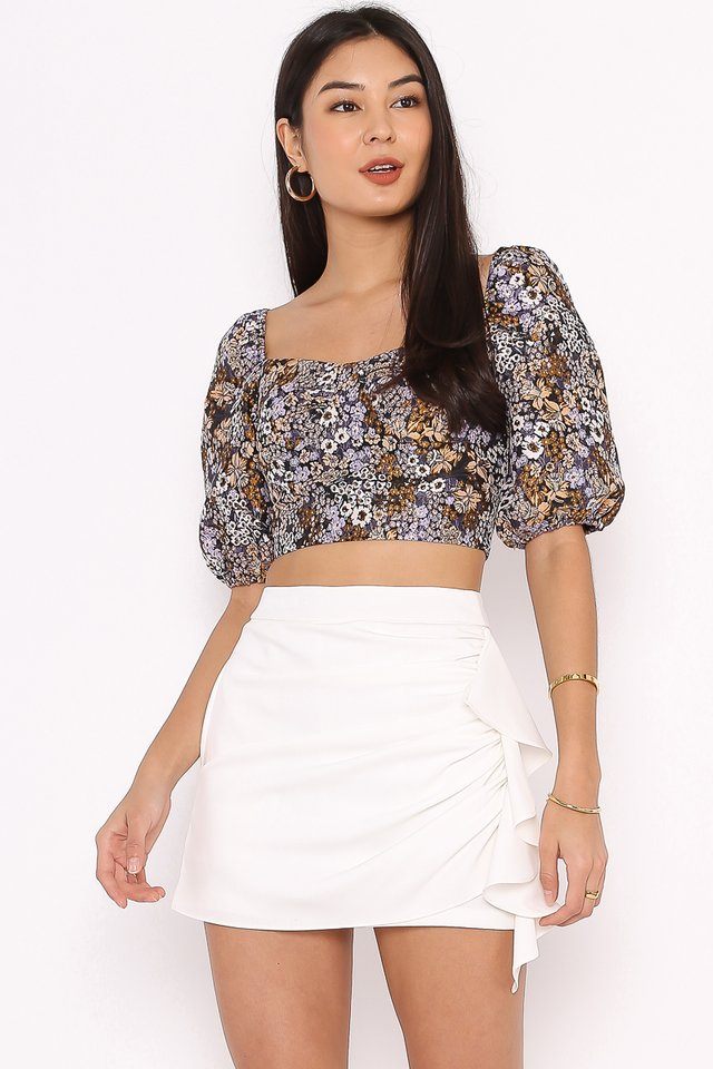 BEATRICE BROCADE TOP (PURPLE FLORAL)