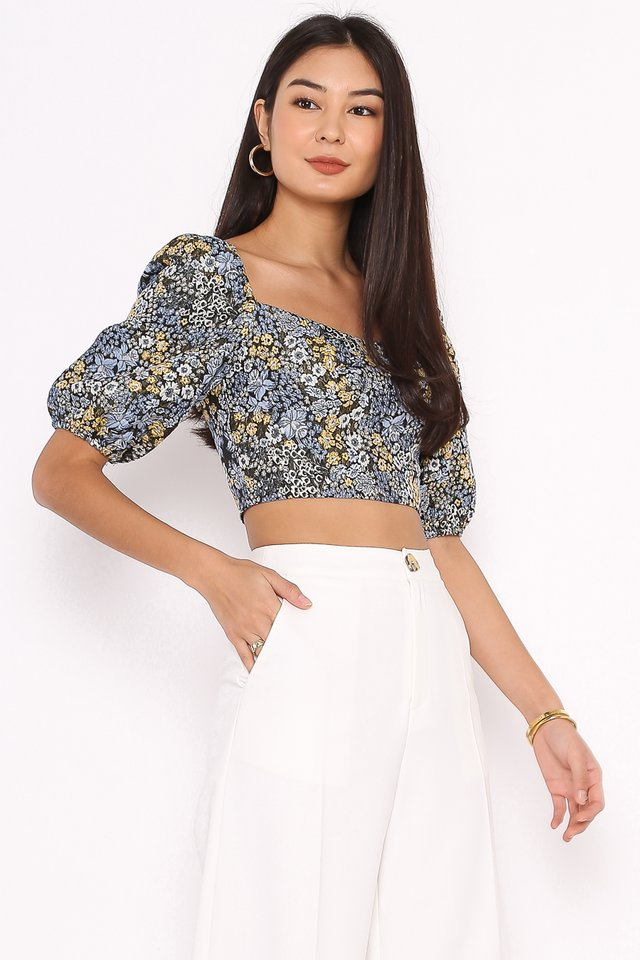 BEATRICE BROCADE TOP (BLUE FLORAL)