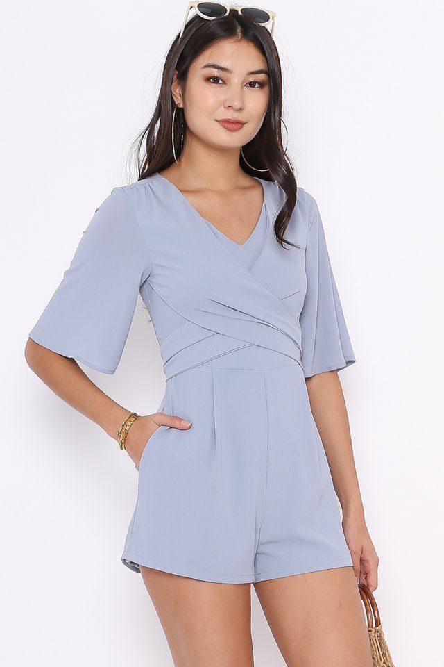 TRIXIE TIE BACK ROMPER (ASH BLUE)