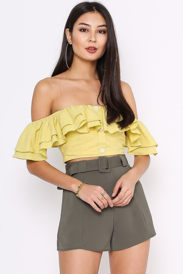 ROSIE RUFFLE TOP (SOFT LIME YELLOW)