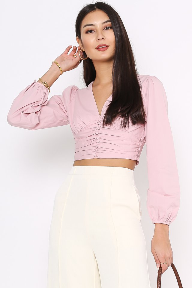 BETTY BUTTON FRONT TOP (SWEET PINK)