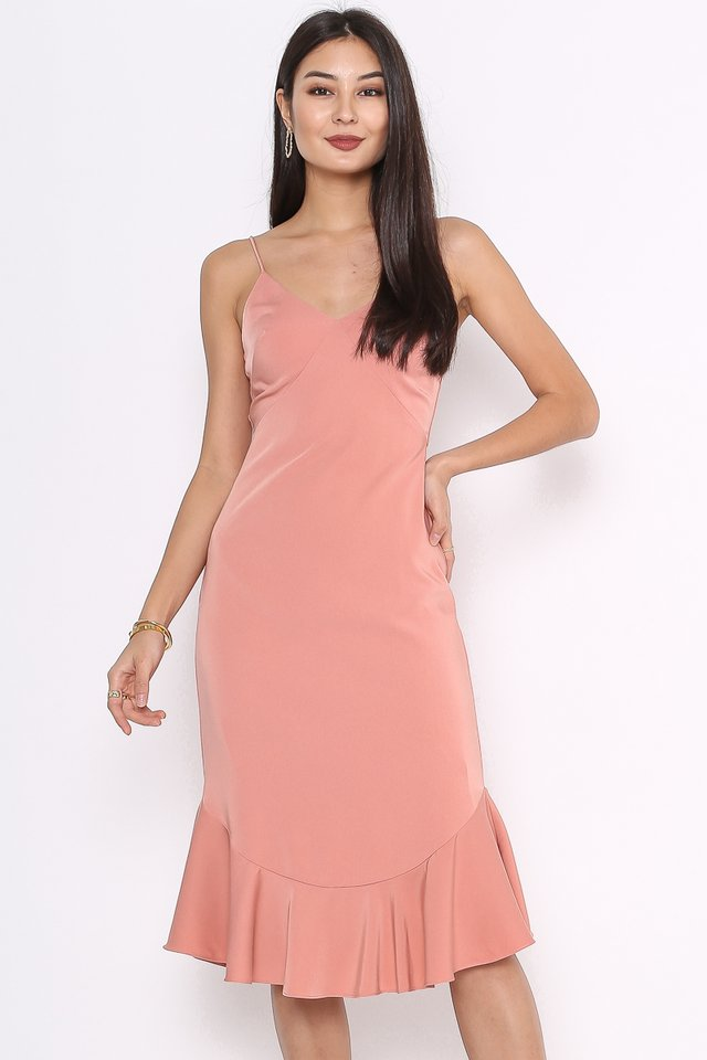 MEREDITH MERMAID HEM DRESS (ROSE)