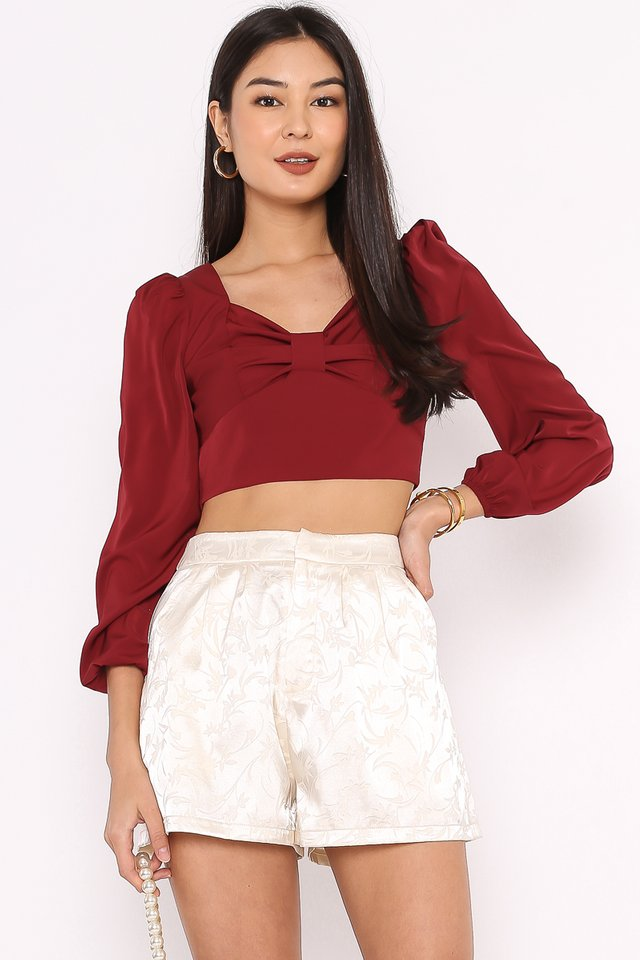 BRIELLE BOW FRONT TOP (CURRANT WINE RED)