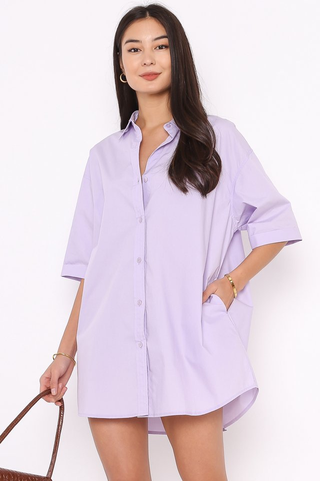 OSCAR OVERSIZED SHIRTDRESS (LILAC)