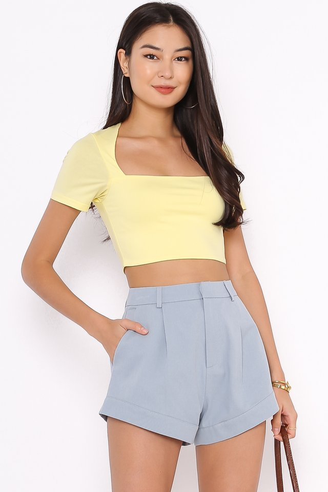 *BACKORDER* CLAUDIE CUT-IN TOP (PASTEL YELLOW)