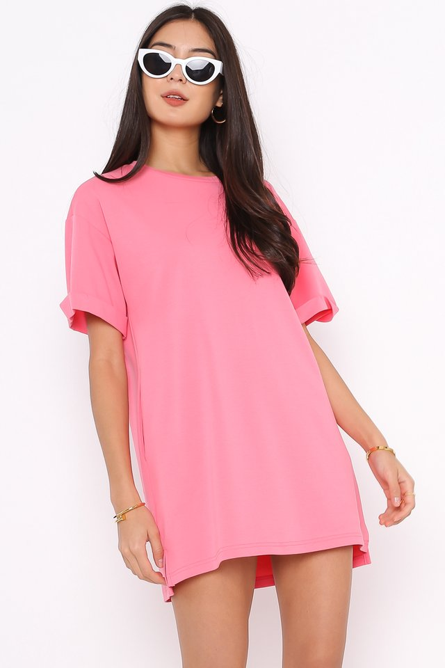 *BACKORDER* CASSIE SHIRT DRESS (HOT PINK)