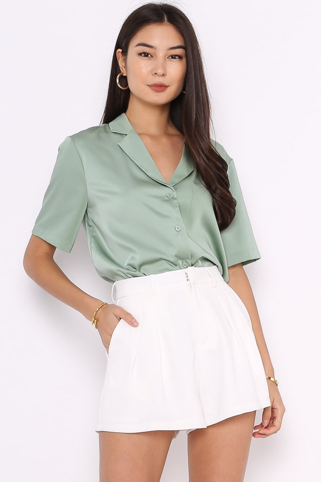 *BACKORDER* SASHA SATIN SHIRT (LIGHT FERN GREEN)