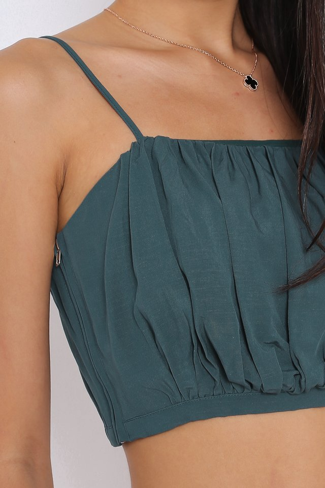 RAYNE RUCHED TOP (DARK TEAL)