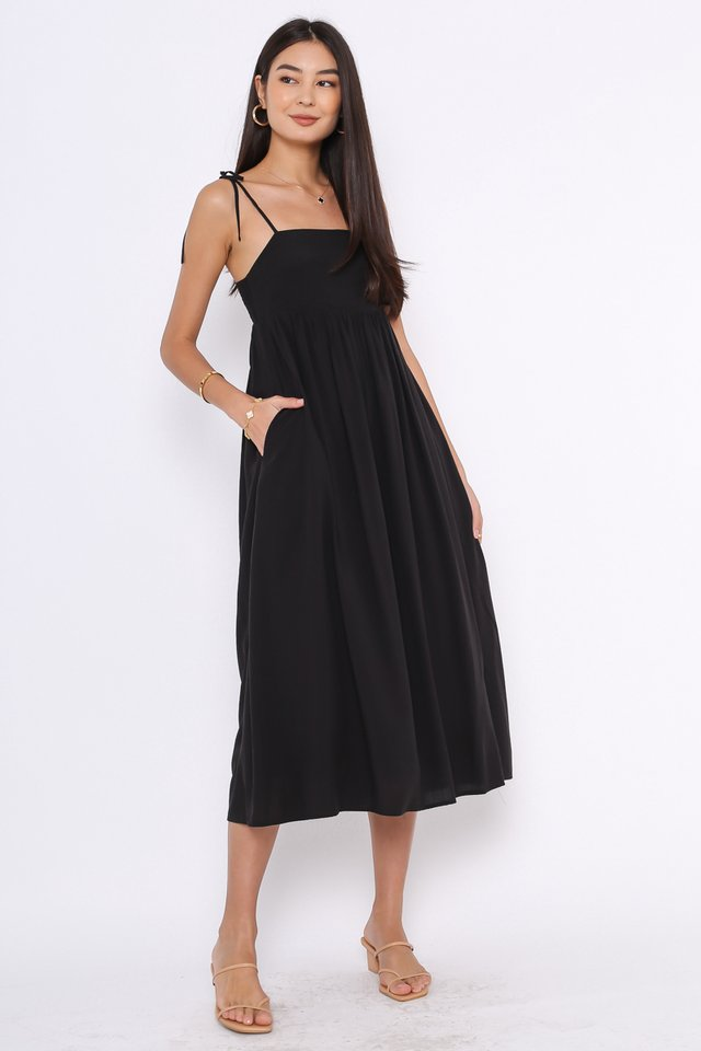TINA TIE STRING DRESS (BLACK)