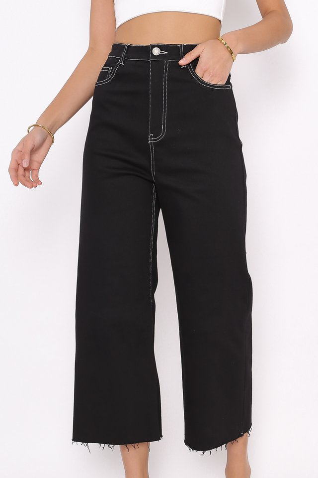 CONOR CONTRAST STITCH CROPPED JEANS (BLACK)