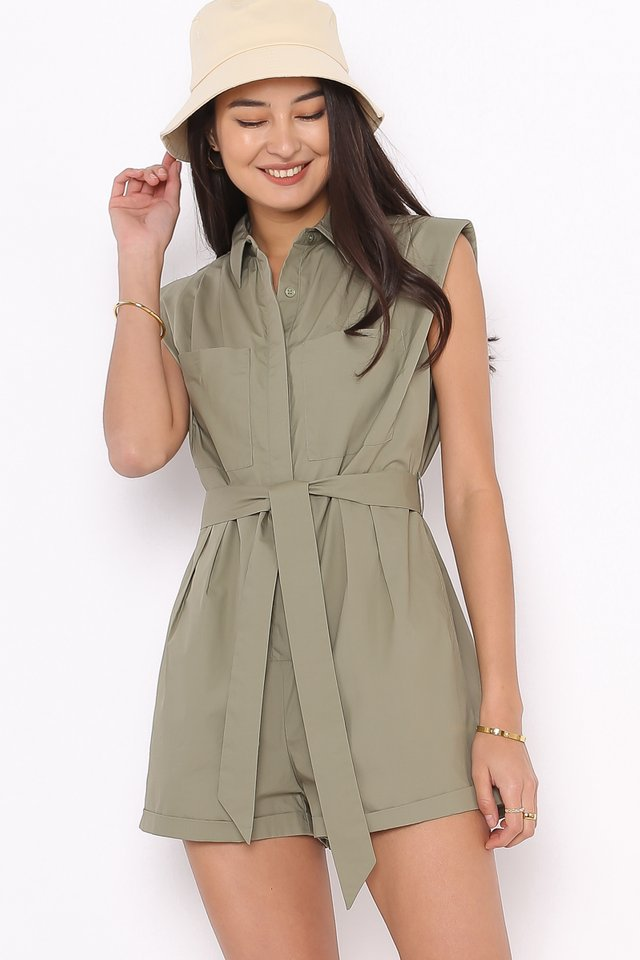 STEVE SHOULDER PADDED ROMPER (DARK SAGE GREEN)