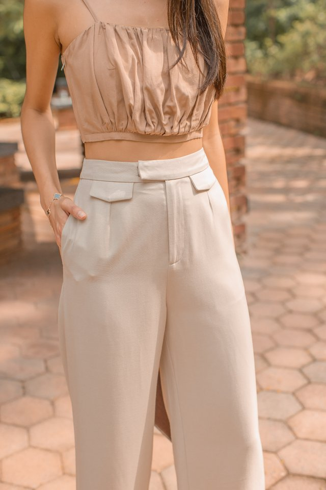 BONNIE BUCKLE UP PANTS (LIGHT KHAKI)