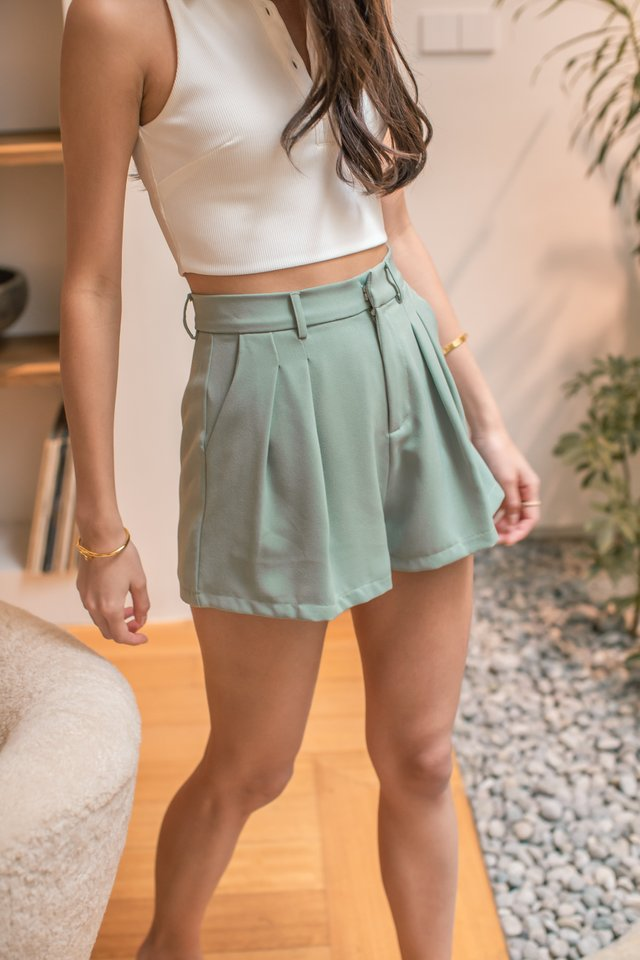 PERCY PLEATED FLARE SHORTS (SEAFOAM GREEN)
