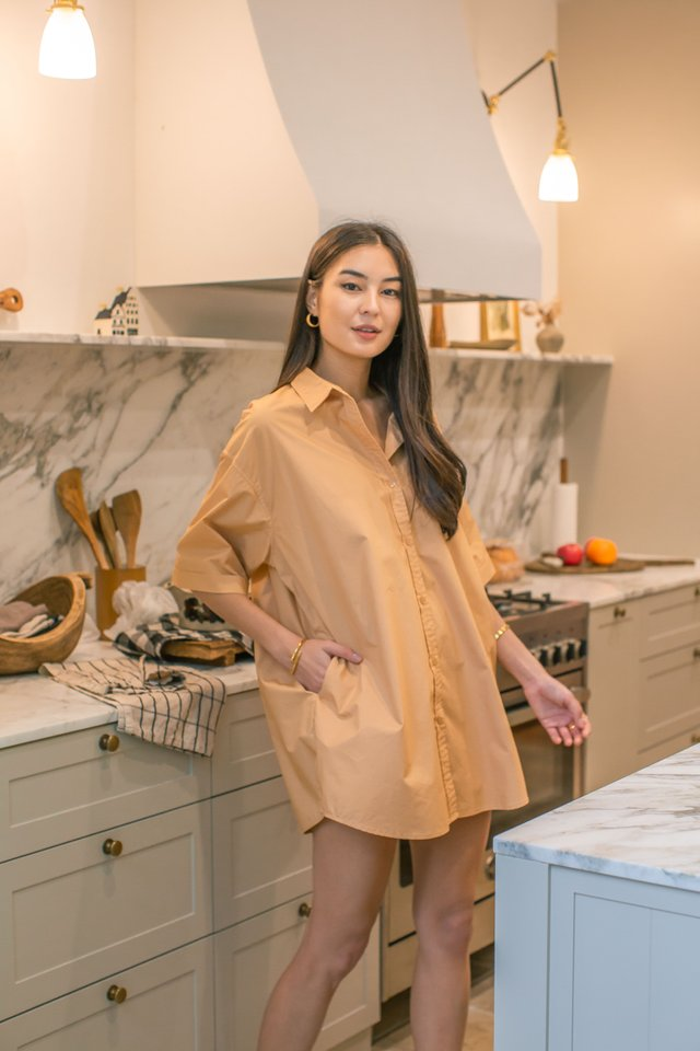 OSCAR OVERSIZED SHIRTDRESS (APRICOT)