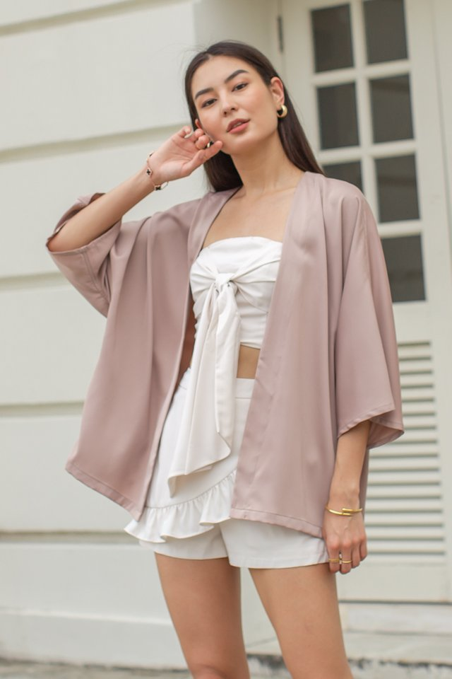 SUMMER SATIN KIMONO (LIGHT MAUVE BROWN)