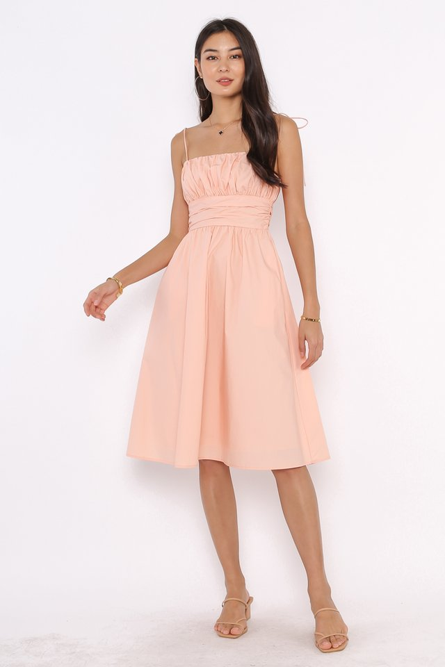 TAYLOR TIE STRING DRESS (SWEET PEACH PINK)