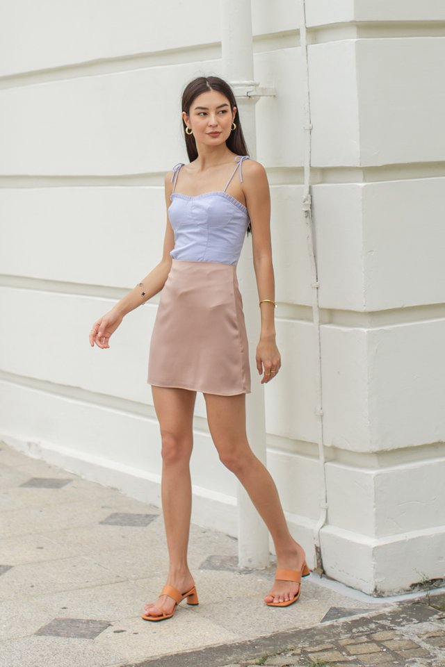 SHELBY SATIN SKIRT (DARK NUDE)