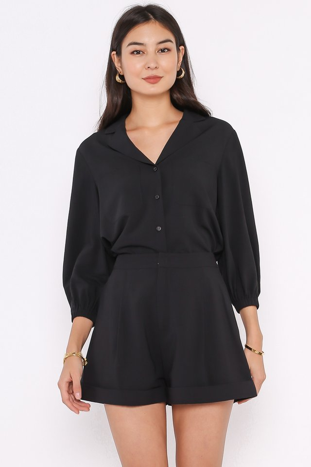 CAMERON CAMP COLLARED SHIRT (BLACK)