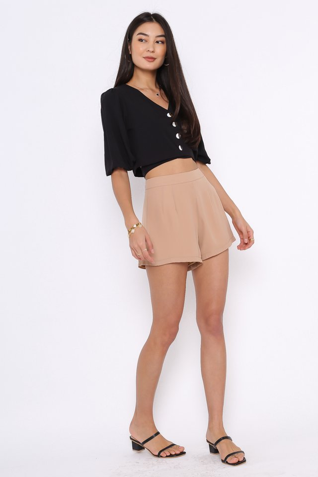 BELLA BUTTON DOWN TOP (BLACK)