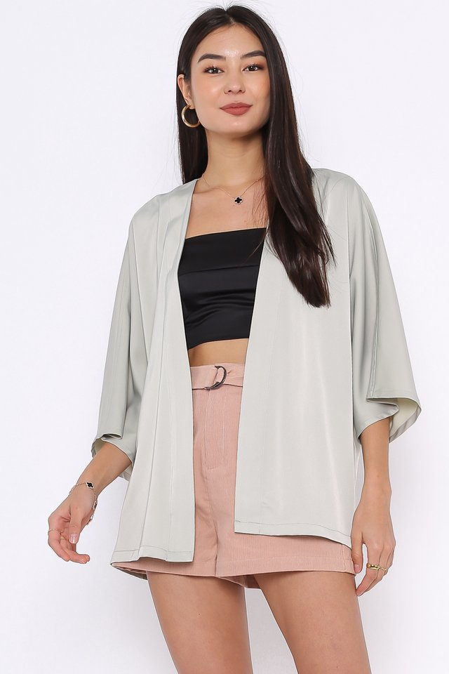 SUMMER SATIN KIMONO (FADED GREEN TEA)