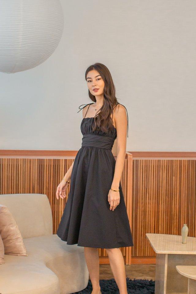 TAYLOR TIE STRING DRESS (BLACK)