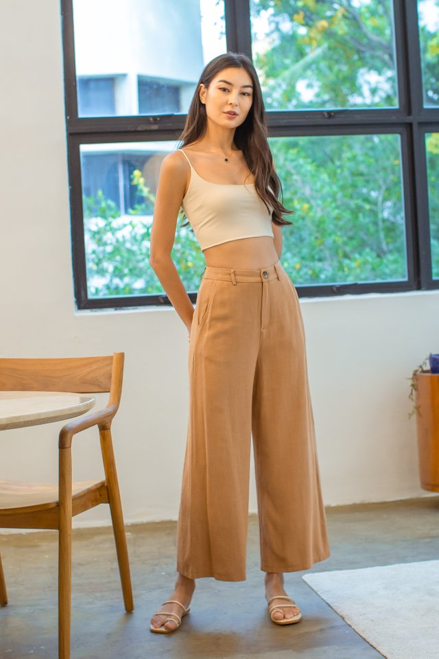 LLOYD LINEN PANTS (CARAMEL BROWN)