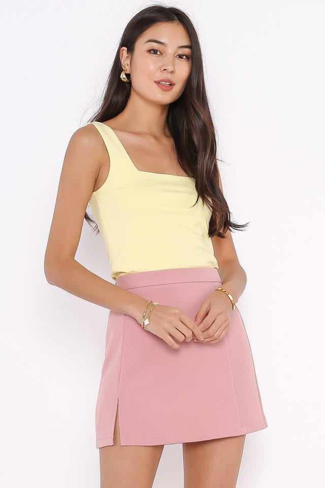 SANDY SQUARE NECK TOP (PASTEL YELLOW)