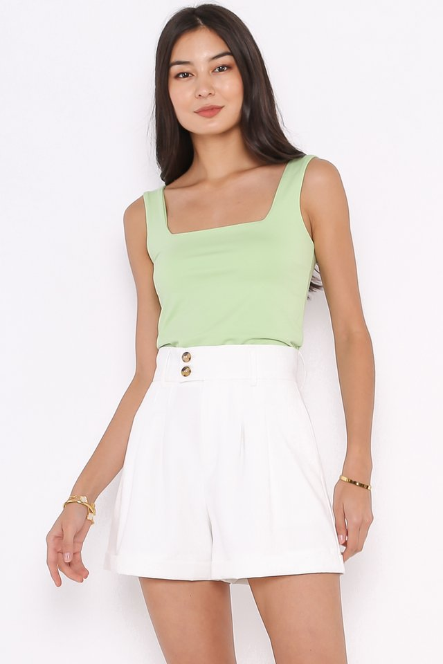 SANDY SQUARE NECK TOP (APPLE GREEN)