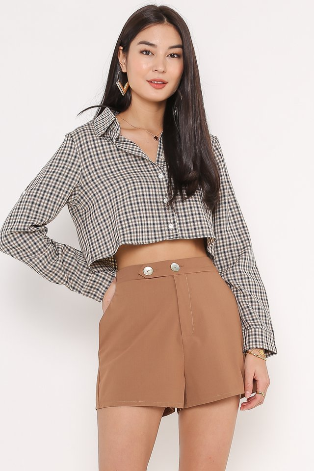 GISELLE GINGHAM CROPPED SHIRT (NAVY CHECK)
