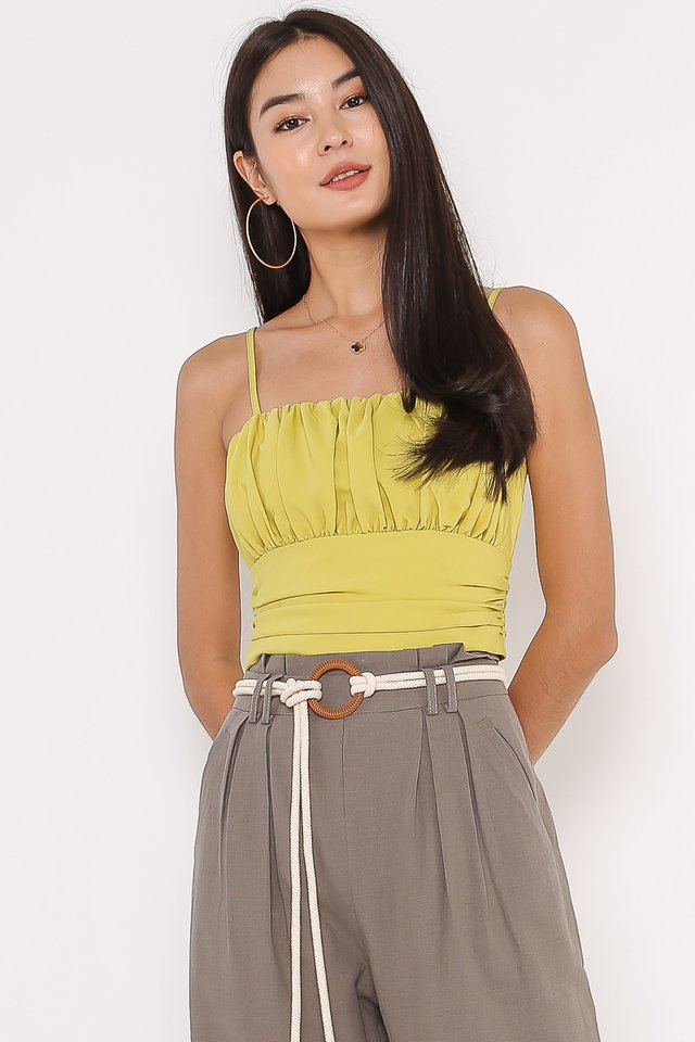 RIRI RUCHED TOP (CHARTREUSE)