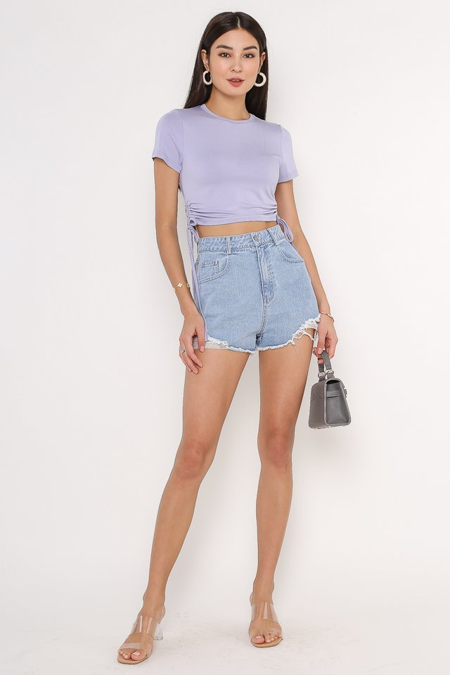 SHAYNE SIDE RUCHED TOP (PERIWINKLE)