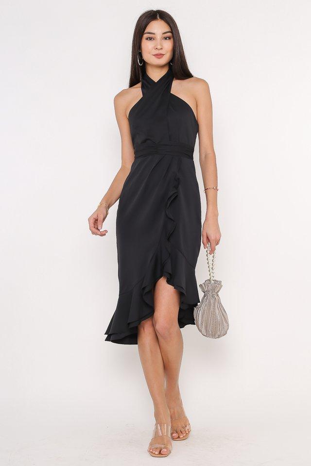 HOLLY HALTER NECK DRESS (BLACK)