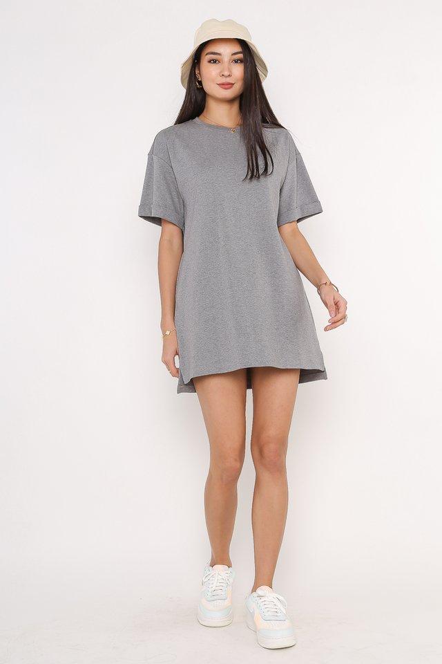 CASSIE SHIRT DRESS (HEATHER GREY)