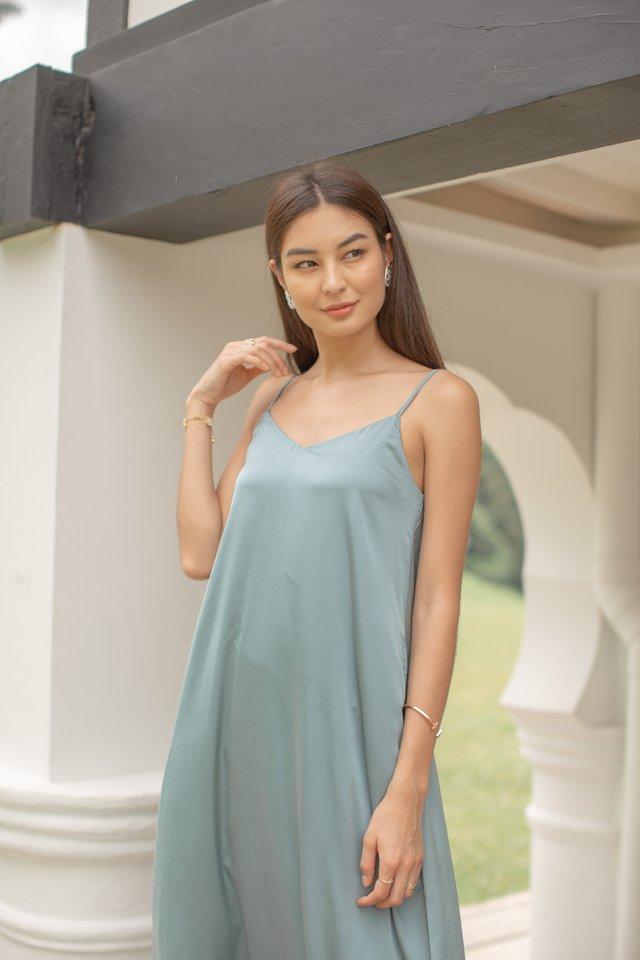 SHEILA SATIN SLIP MAXI (SEAFOAM BLUE)
