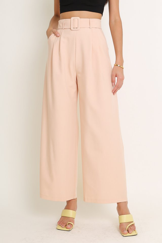 BAILEY BELTED PANTS (PEACH PINK)