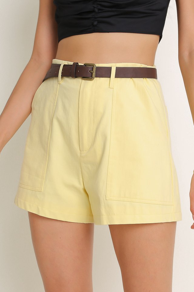 BRANDON BELTED SHORTS (LIGHT CANARY YELLOW)