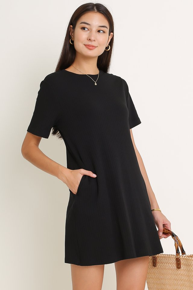 RAELYN RIBBED DRESS (BLACK)