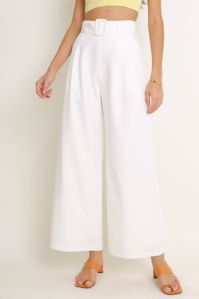 BAILEY BELTED PANTS (WHITE)