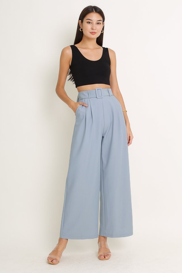 BAILEY BELTED PANTS (DOVE BLUE)