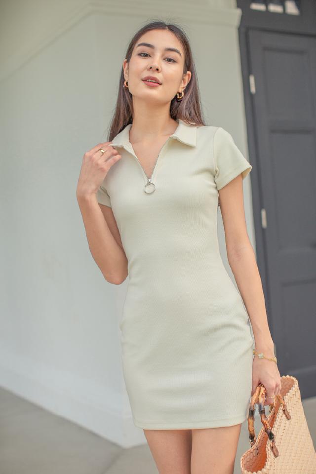 RONNIE RING ZIP DRESS (VANILLA CREAM)